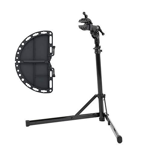 Contec Fahrrad Montageständer eBike Set Rock Steady, Traglast: ca. 30 kg, Klemme 360° rotierbar, (H/B/T) ca. 100x104x82 cm (Aufgebaut) inkl. Werkzeugschale