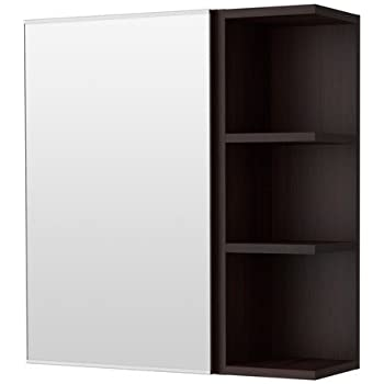 ikea lill ngen spiegelschrank mit einer t r und einem abschlussregal in schwarzbraun. Black Bedroom Furniture Sets. Home Design Ideas