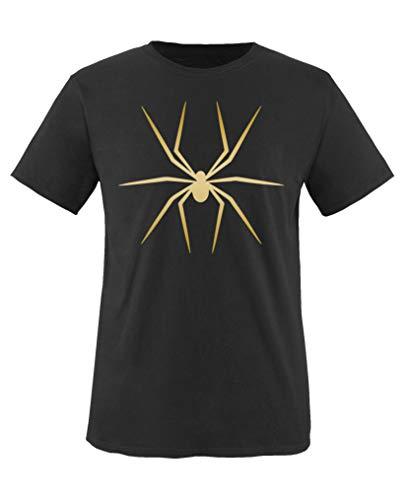 Comedy Shirts - Halloween Spinne - Jungen T-Shirt - Schwarz/Gold Gr. 110-116