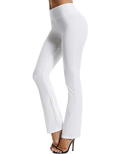 FITTOO Damen Lange Stretch Lagenlook Schlaghose Hose Weiß M