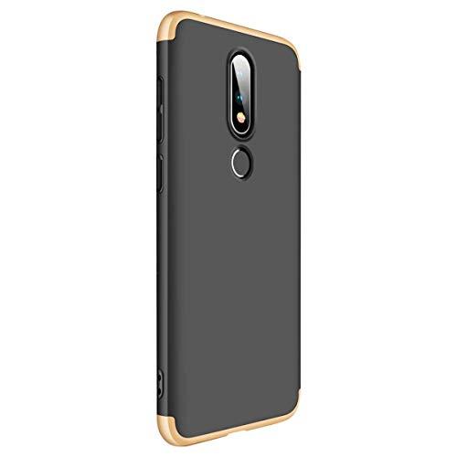 Riyeri Case Compatible with Nokia 6.1 Hülle 3 in 1 Hard PC Matte Oberfläche 360 Komplett Schutzhülle Anti-Kratzer Bumper Cover für Nokia 6.1 Plus/Nokia X6 2018 (Nokia 6.1, Black+Gold) Alle Nokia-flip-telefone
