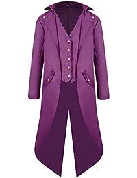 PengGengA Giacca Uomo Lunga Nero Gotico Steampunk Cappotto Lungo Tailcoat Cappotto  per Vittoriano Halloween Costume 307d7b59f1f