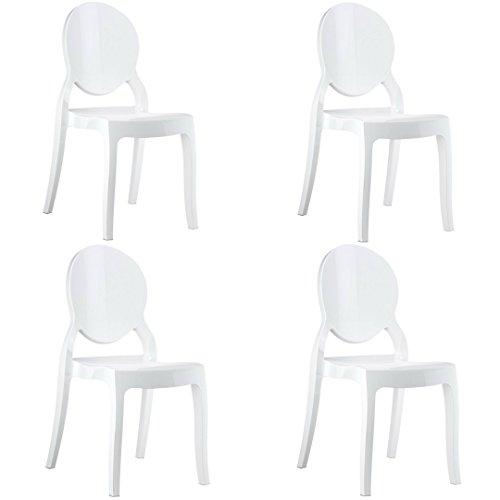 Eglemtek set da 4 sedie in policarbonato bianco, sedia per casa cucina ufficio soggiorno salone bar hotel, leggera e resistente, sedia impilabile, 44 x 45 x 90, policarbonato traslucido bianco
