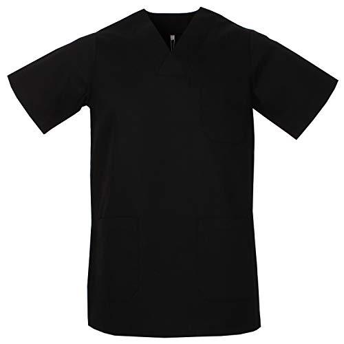 MISEMIYA - Gesundheitsuniformen Uniformen Hemd T-Shirts Unisex Spitze Kragen Kurze ÄRMEL UNIFORM KLINIK Krankenhaus Reinigung Gesundheit Me - X-Large, Schwarz