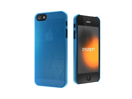 Cygnett CYGCY0856CPPOL Polygon Super Thin Clear Hard Case für Apple iPhone 5 blau