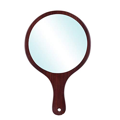 Miroir de coiffure Miroir de poignée en bois avec miroir, poignée professionnelle, 3 pièces,13.6 * 27.8cm
