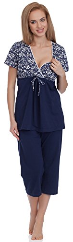 Be Mammy Femme Pyjamas d'allaitement BE20-120 Bleu Foncé