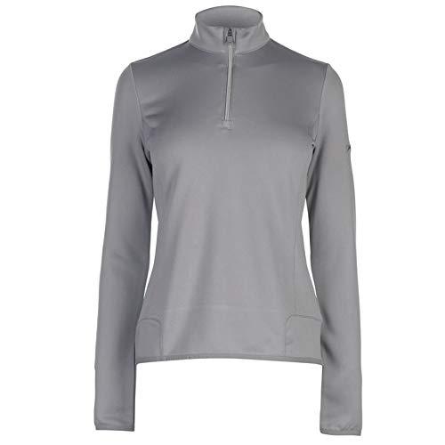 Rv-damen-sweatshirt (Slazenger Damen Golf Sweatshirt Langarm 1/4RV Stehkragen Grau S)