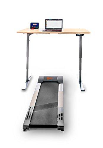 Office Fitness High Riser 1E Laufband Schreibtisch grey frame, white desktop 140 x 80 weiß