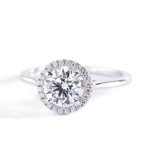 Verlobungsring 18 Karat Weißgold 1,10 Karat SI2 H Rundschliff Diamant Brillantschliff