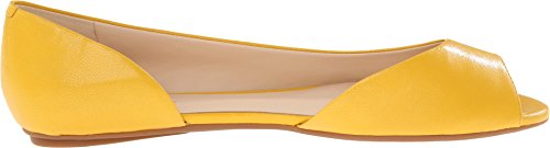 Nine West Bachloret Cuir Chaussure Plate Yellow Leather