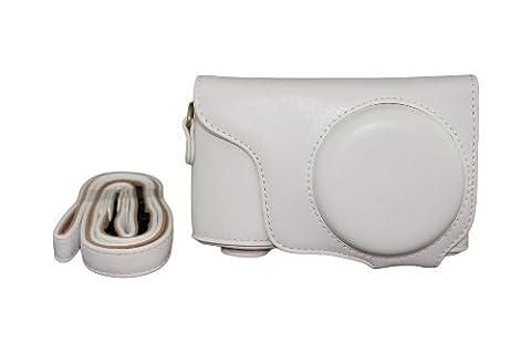 Protection en cuir PU Camera Bag Case pour Samsung Galaxy Caméra EK-GC100 GC100 GC110 GC110 EK-Blanc + Sangle + Protecteur d'écran
