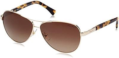 Polo Ralph Lauren 0ra4116 - Gafa de sol aviador color dorado claro con lentes color marrón degradadas polarizadas