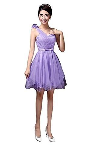 Honeystore Damen's A-Linie/Princess-Linie Knielang Tüll Ärmellos Brautjungfernkleid Abendkleid mit Reißverschluss 25#Violett (Kostüm Farbige Kontakte Günstige)