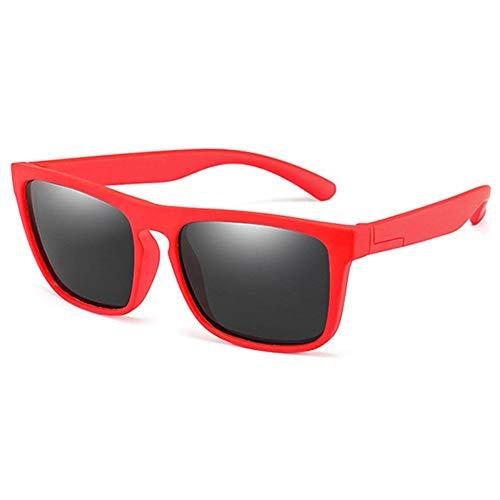 YYXXZZ Sonnenbrillen Kids Polarized Sonnenbrillen Jungen Mädchen Platz Sonnenbrille, rötlich schwarz
