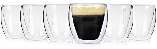 Sänger 6er Set 200 ml doppelwandige Kaffeegläser Gläserset | Thermoglas Doppelwandig mit...