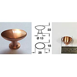 6pk - 28mm 'Pearle' Brushed Copper Effect Cupboard/wardrobe Door Handle Knob