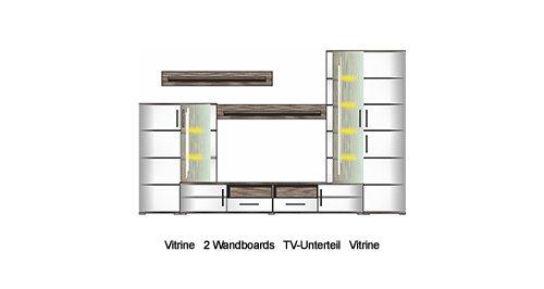 4-tlg. Wohnwand in Sonoma Eiche-dunkel-Nachbildung, Fronten in weiß Hochglanz, Maße: B/H/T ca. 285/198/50 cm - 7