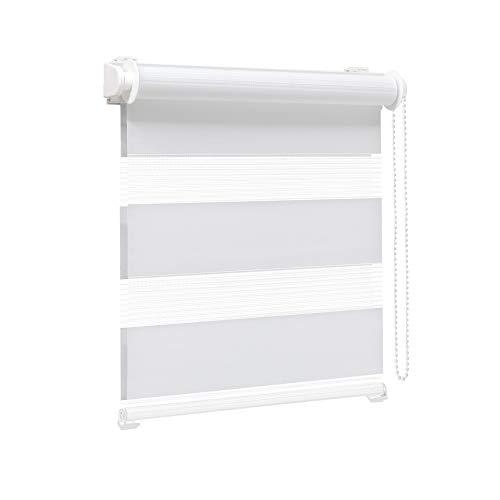 Victoria M. Zevra Estor Doble Enrollable - Estor día y Noche translúcido, 140 x 160 cm, Blanco