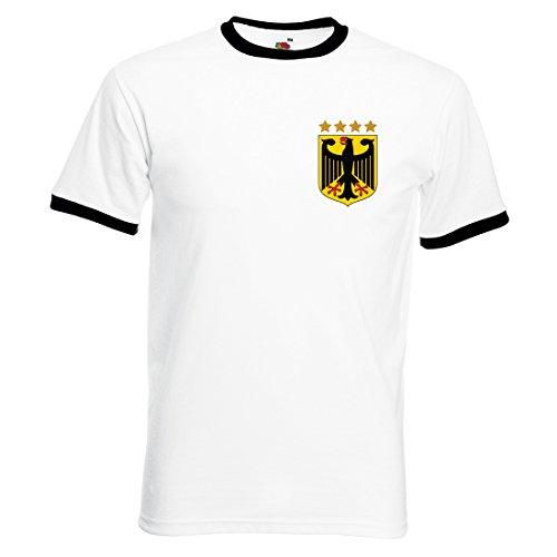 Herren Müller Retro Deutschland Fußball T-Shirt Gr. Small, Mehrfarbig - Weiß und Schwarz