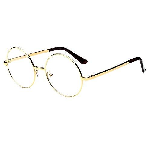 Forepin® Unisex Montatura Occhiali da Vintage Frame Metallo Struttura Vista Vetri Ottici Pianura Occhiali, Oro