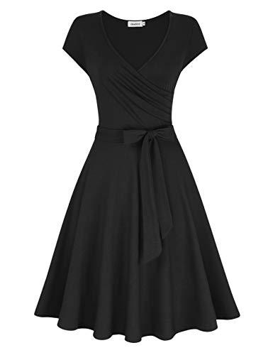 Women V Neck A Line Slim Fit and Flare Casual Cocktail Elegant Swing Vintage Dress -