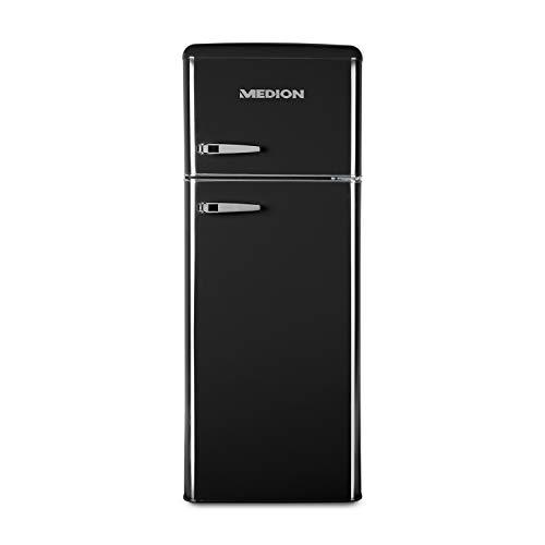 Automatische Side-by-side Kühlschrank (MEDION MD 37258 Kühl-Gefrierkombination (208 Liter Nutzinhalt, 4-Sterne-Gefrierfach, Temperaturkontrolle, Retro-Design) schwarz)