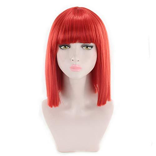 amen Schwarz Bob Pony Mittellang Glatt Wig Frauen Cosplay Kurzhaar Perücken (Rot) ()