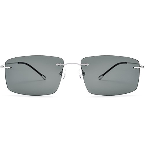 Shiduoli Frauen Vintage Square Sonnenbrille Herren Retro polarisierte Sonnenbrille (Color : Silver Frame/Dark Green Lens)