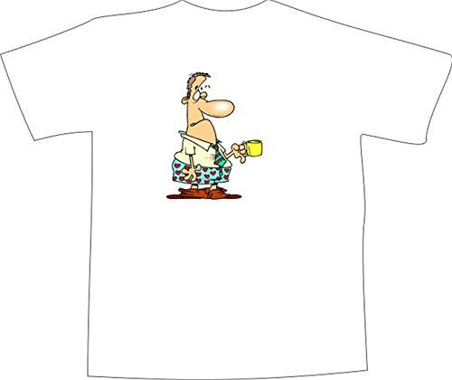 T-Shirt E1279 Schönes T-Shirt mit farbigem Brustaufdruck - Logo / Grafik / Design - Schlafmütze im Büro mit Kaffee Tasse Mehrfarbig