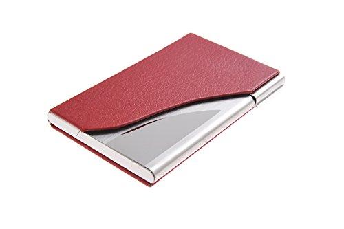 Visitenkartenetui/-halter aus hochwertigem Edelstahl und Bycast Leder, für 13-15 Visitenkarten, Farbe: rot, Mod. 398-02 (DE) (Leder Bycast Rotes)