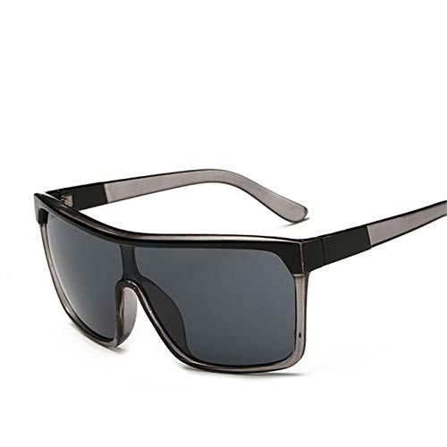 AOCCK Brillen Sonnenbrillen Square Shield Sunglasses Men Driving Male Luxury Sun Glasses For Men Designer Cool Shades MIRROR Retro CJXY802 C1 Grey