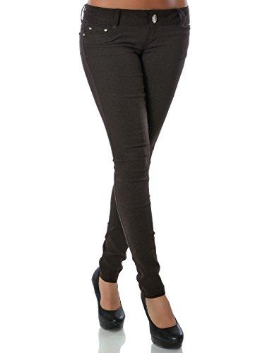 Damen Hose Treggings Skinny Röhre (weitere Farben) No 14205, Farbe:Braun;Größe:34 / XS (Getragen In Jeans)