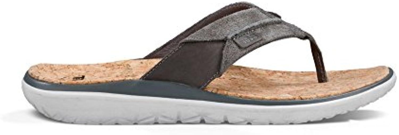 Teva Men's Terra Float Lux Leather Flip Flop Charcoal Grey 8.5