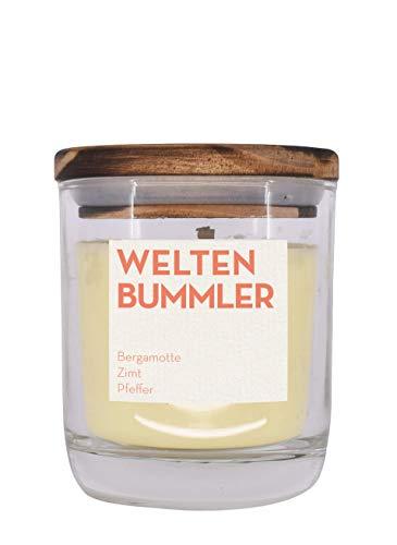 UpCandle aus Berlin - Duftkerze aus Rapswachs und natürlichen ätherischen Ölen in Recycling-Glas - Weltenbummler (150 ml) -