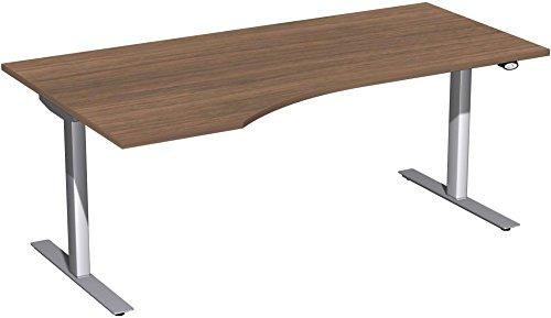 Elektrisch höhenverstellbarer Schreibtisch, links, 1800x1000x680-1160, Nussbaum/Silber, Geramöbel +