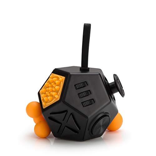 Würfel [wie Fidget Cube] mit 12 Seiten und Funktionen gegen Stress in Schwarz ()