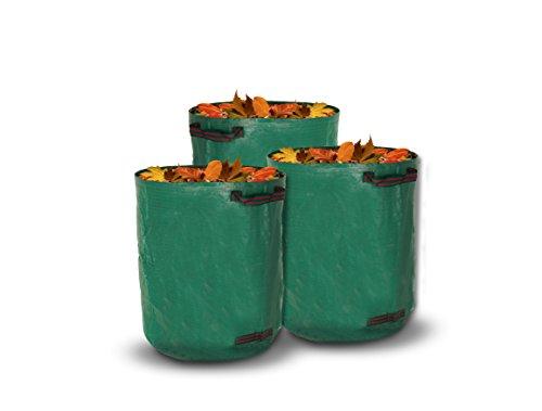 Gewebte Blätter (livivo® Heavy Duty großes Set von 3Premium Garten Kotbeutel mit 3doppelt genäht Gurtband Griffe Premium Qualität 150gsm gewebt Stoff Pro Tasche, stark Material, Aufbewahrungstasche für Unkraut, Blätter, Gras)