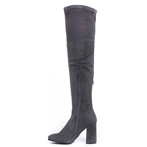 Ideal Shoes - Cuissardes à talon carré effet daim avec détail dentelle Leaha Gris