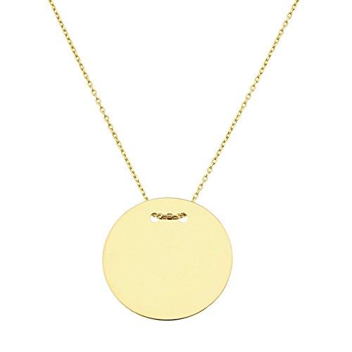 Collier mit Goldplättchen Gravurplatte mit Goldkette, rund 20mm, Kettenlänge: 50cm, 585 Gelbgold