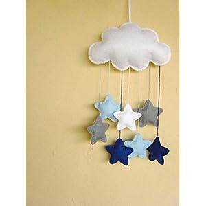 Filz Wolke, Baby Mobile, Kinderzimmer, blau und grau, Sternen. Erhältlich in vielen Farben!