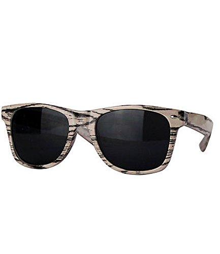 caripe Wayfarer Sonnenbrille Nerd Brille - viele Farben - W-g (Holzoptik - natur)