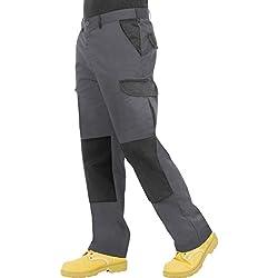 Proluxe Endurance pour Homme Cargo Combat Pantalon de Travail avec Poches genouilleres et Coutures renforcees, Gris/Noir, 46 ordinaire (36R)