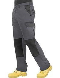 ProLuxe Endurance - Pantaloni da Lavoro da Uomo, con Tasche Imbottite e Cuciture rinforzate, Disponibili in Nero, Blu Navy, Grigio/Nero e Nero/Grigio