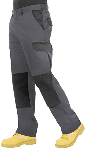 Proluxe endurance da uomo cargo combat pantaloni da lavoro con tasche al ginocchio e cuciture rinforzate - disponibile in nero, blu navy e grigio grey/black it50r / uk34r