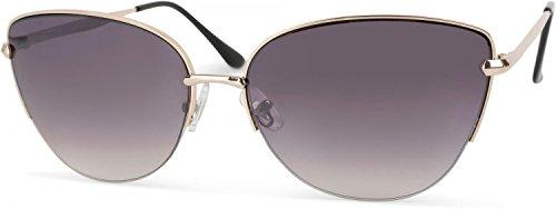 styleBREAKER Cat Eye Katzenaugen Sonnenbrille, Schmetterlingsform, Pilotenbrille mit Federscharnier,...
