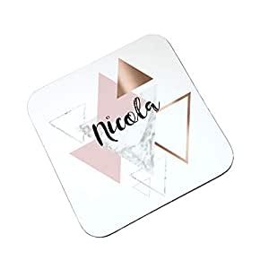 Personalised Rose Gold Triangle Geometric Coaster, Wooden Glossy Hard  Coaster, Gift, Table Mat, Drinks Mat, Table Saver gift