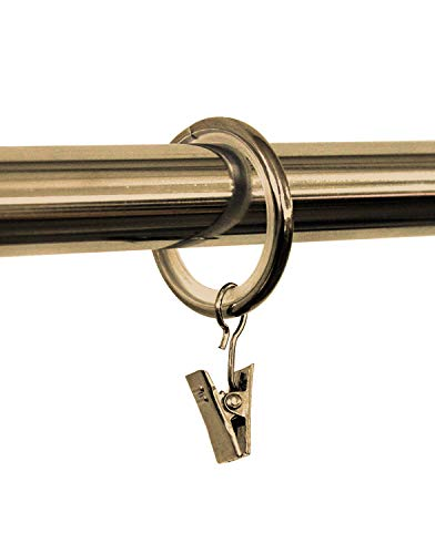 Rollmayer 10 Stück glänzend Gardinenringe für Gardinenstange/Vorhangstange 16mm, 19mm, 20mm Durchmesser (Antik Gold mit Klammer) 10er-Set Ringe mit Clips für Vorhänge, Schiebevorhänge, Gardinen - Antik-ring-set