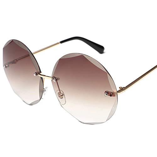 Wenkang Runde randlose Sonnenbrille Frauen männer Vintage Mode Farbverlauf Sonnenbrille stilvolle weiblich männlich Brillen,A5