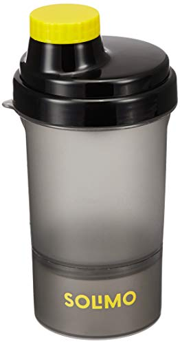 Solimo 400ml Shaker Bottle With Storage Compartment (Screw Lid)